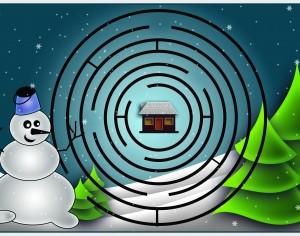 Omul de Zăpadă merge la Moș Crăciun – Labirint
