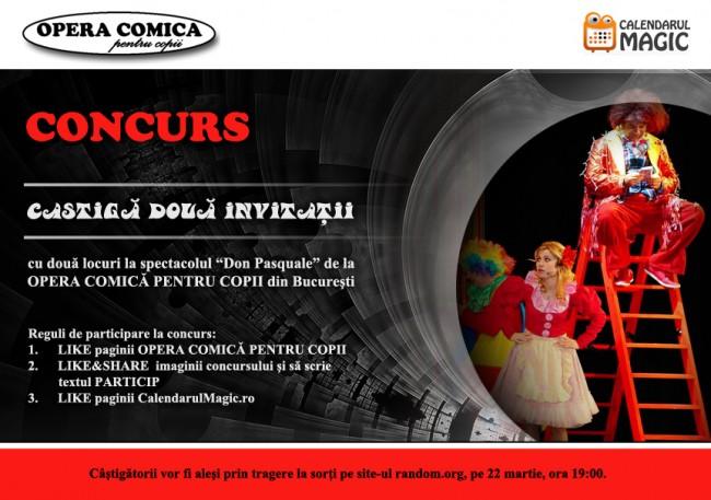 """CONCURS – Caştigă doua invitaţii cu două locuri la spectacolul """" Don Pasquale"""" de la OPERA COMICĂ PENTRU COPII din Bucureşti"""